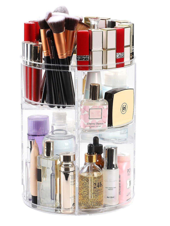 Kootek Rotating Makeup Organizer - 360 Spinning Makeup Storage Rack Adjustable Swivels Cosmetic Organizers Brush Holder Large Capacity with 4 Layers Tray for Bathroom Bedroom Vanity Dresser Room: Beauty