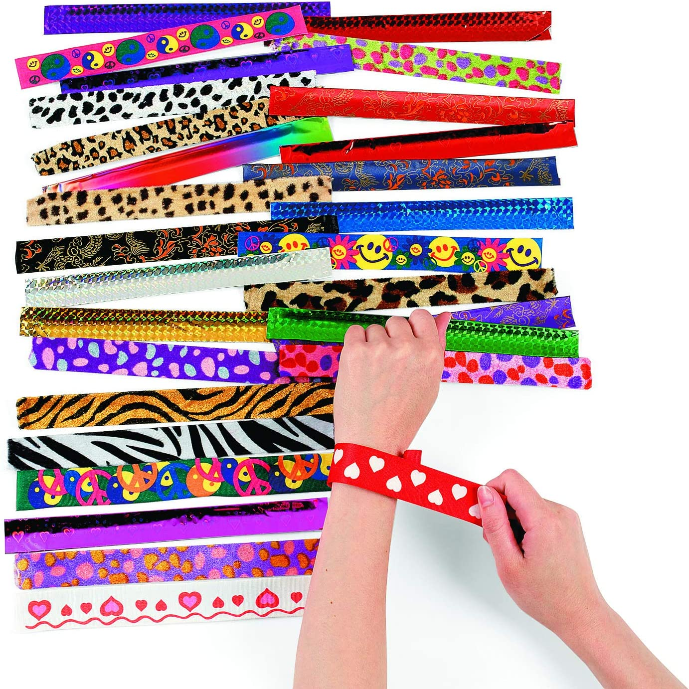 Fun Express, Metal Slap Bracelet Assortment (50 Pieces) Party Favors, Costume Accessories