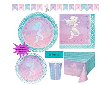 Amazon.com: Shiny Mermaid Party Supplies Set para fiesta ...