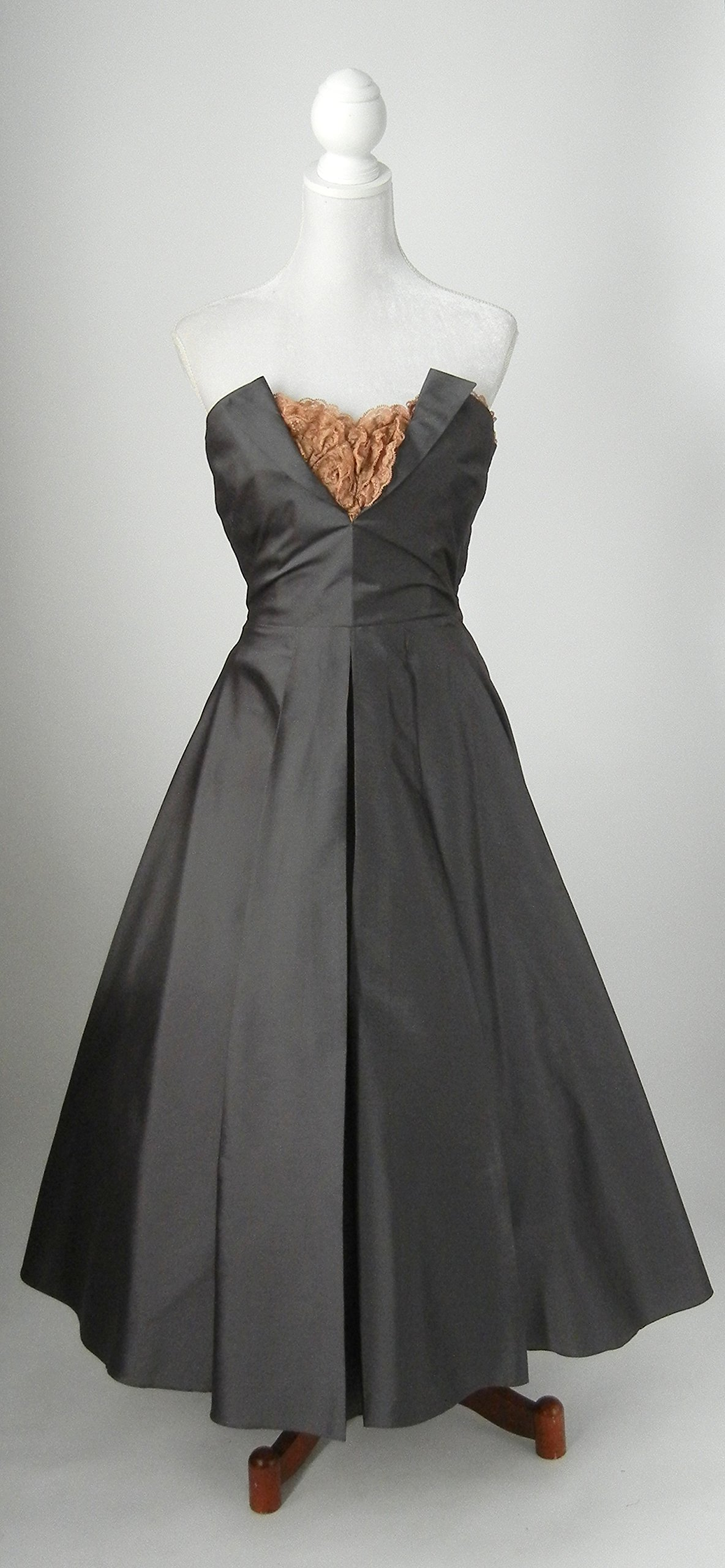1950s Vintage Style Strapless Silk Party Dress