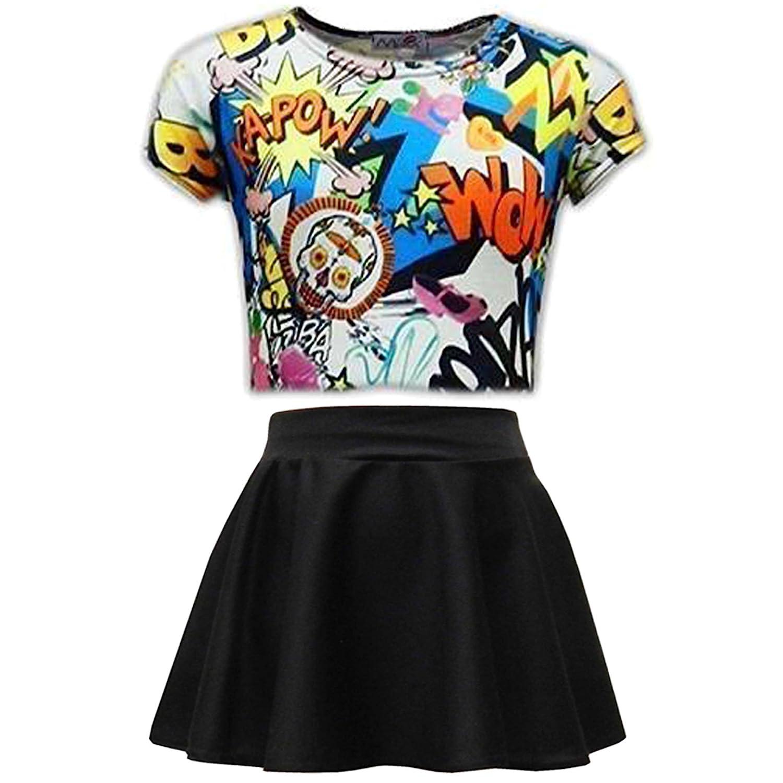Kids Girls Love Graffiti Crop Top /& Black Skater Skirt Set 7 8 9 10 11 12 13 Yr