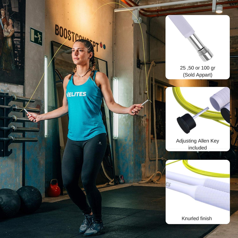 Velites Cuerda de Saltar lastrada para Crossfit Lastres no inculidos Boxeo y Fitness Vropes Fire 2.0 Comba de Velocidad de Aluminio
