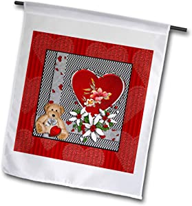 3dRose Beverly Turner Valentine Design - Bear with Hearts and Flowers, Red, Black, and White - 12 x 18 inch Garden Flag (fl_302907_1)