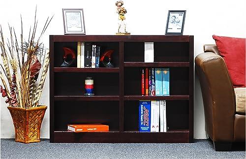 Midas Six Shelf Double Bookcase 36 H Cherry Finish