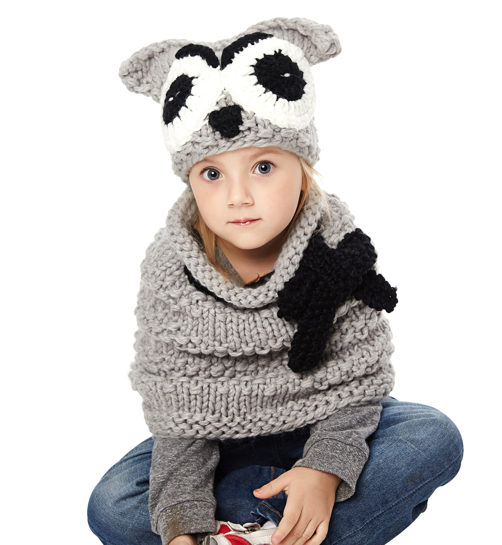 Sumolux Girls Kids Warm Owl Hats and Scarf Set Knitted Coif Hood/Shawl Beanies for Winter by Sumolux (Image #2)