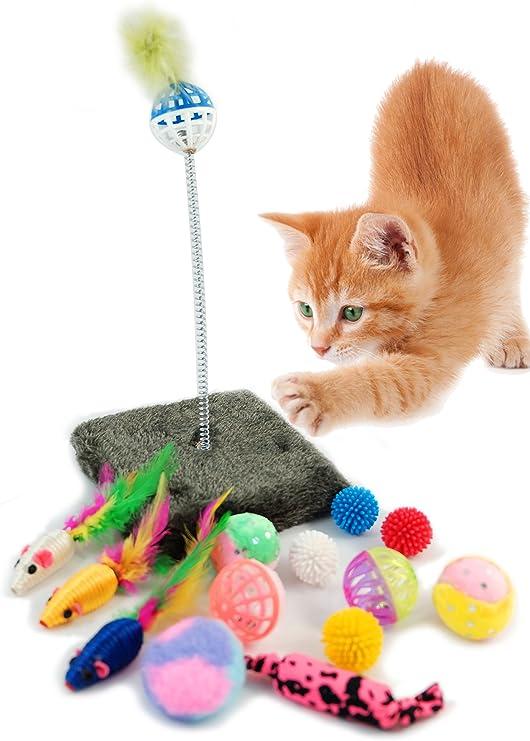 BPS Paquete de Juguetes para Gatos Gatito Juguetes Interactivo Juguete de Atracciones Colores se envia al Azar BPS-3264 * 1: Amazon.es: Productos para mascotas