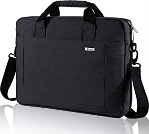 Voova Laptop Bag 15.6 15 14 Inch Briefcase, Expandable Computer Shoulder Messenger Bag Waterproof Carrying Case Handbag with Tablet Sleeve, Organizer for Men Women,Business Travel College School-Black