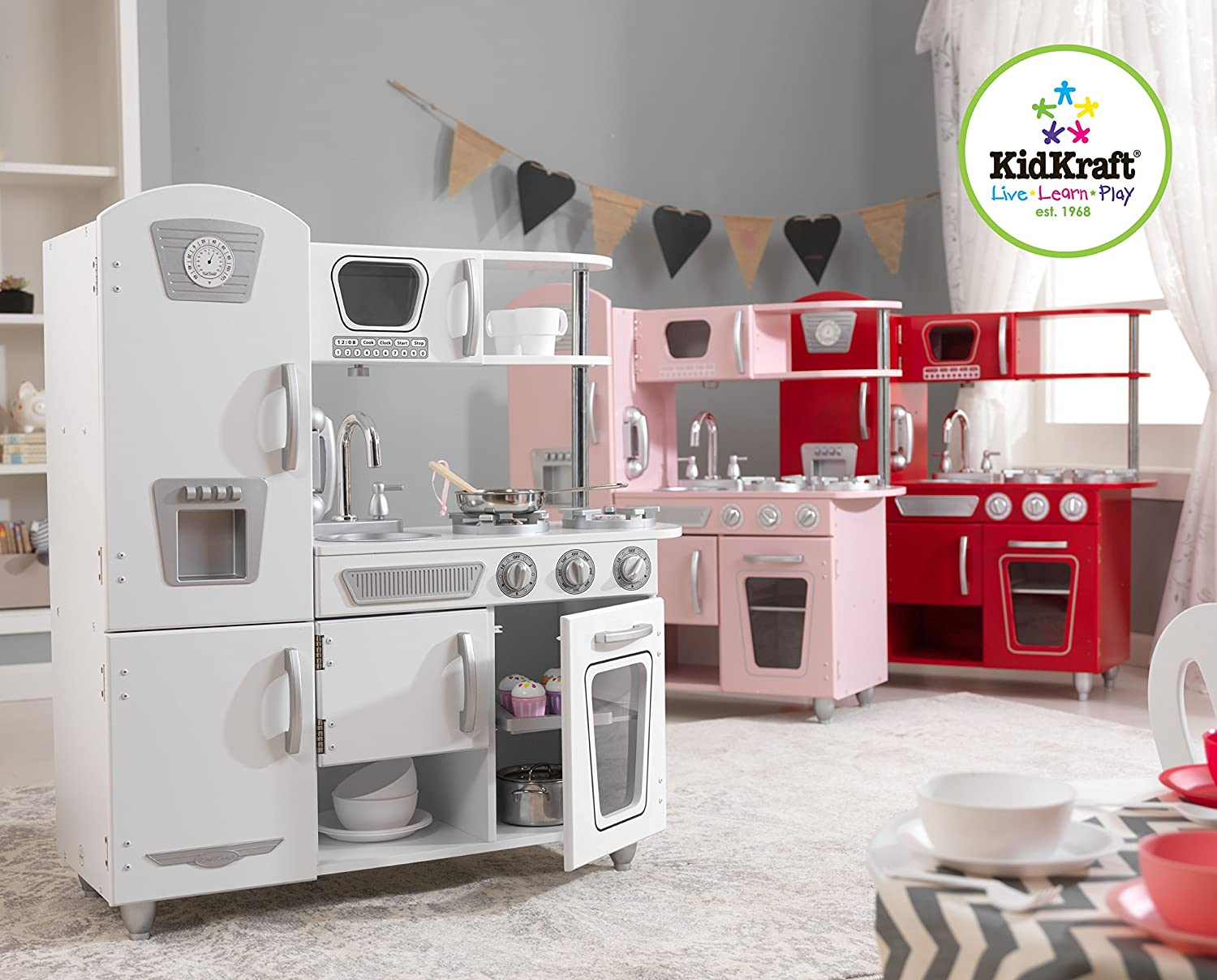 Kid Craft Retro Kitchen Amazoncom Kidkraft Vintage Kitchen White Toys Games
