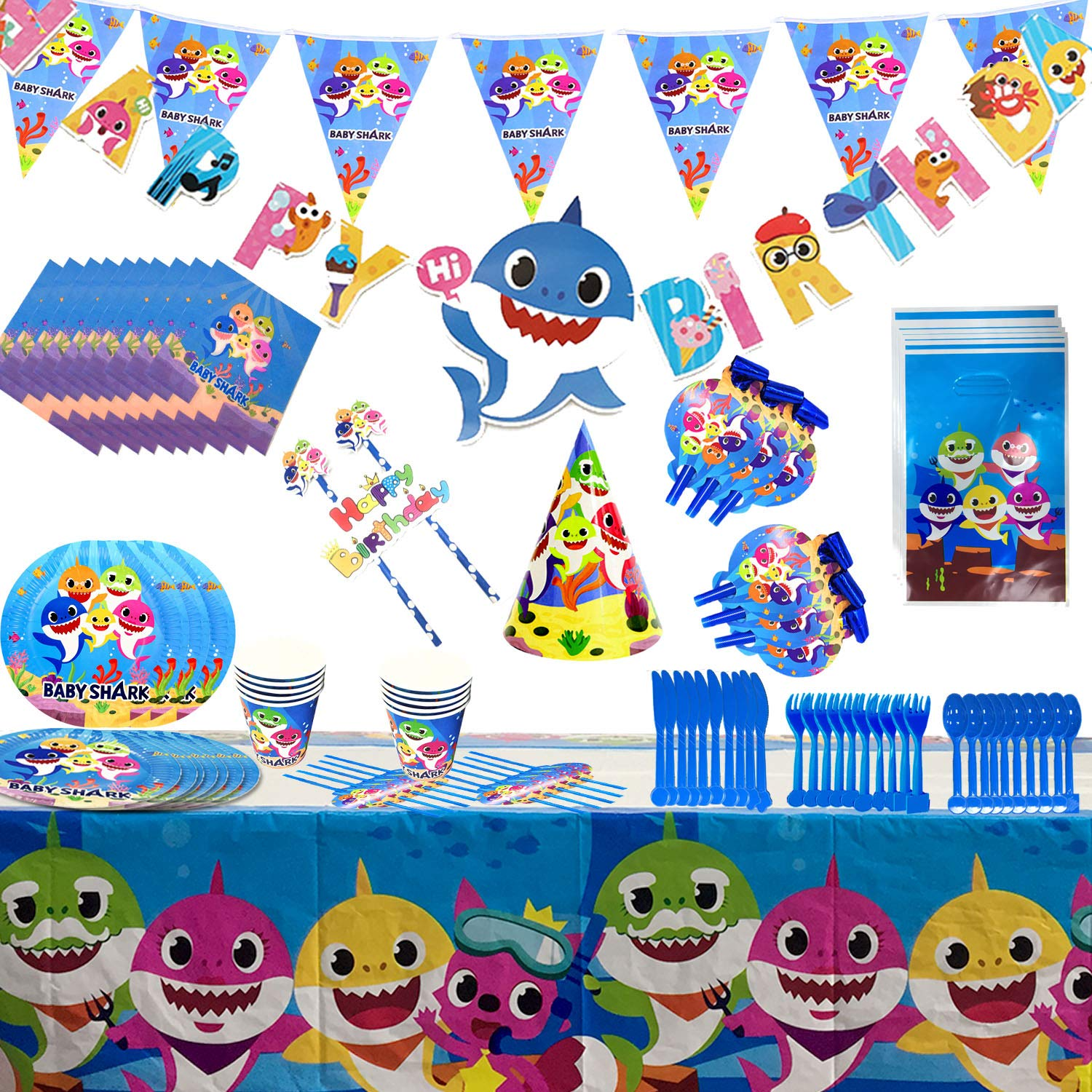 Baby Shark Party Supplies Set - 109 Pcs Baby Shark Themed Birthday Decorations Includes Disposable Tableware Kit Blowing Dragon Paper Hat Gift Bag and Banner - Serves 10 Guest by AiParty (Image #3)