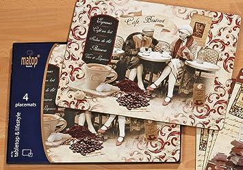 Tischsets Korkunterseite platzset tischset 4er set kork unterseite café bistrot amazon de