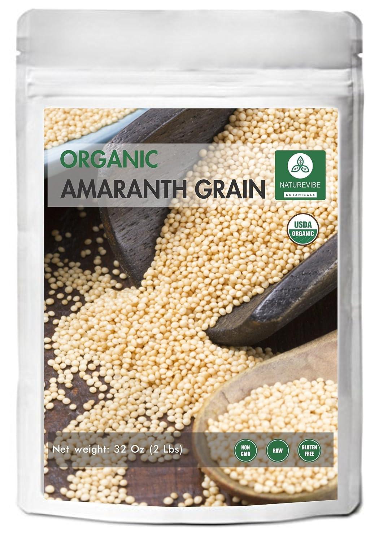 Organic Amaranth Grains (2lb) by Naturevibe Botanicals, Gluten-Free & Non-GMO (32 ounces)