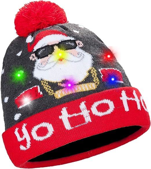 """Santa Hat LIGHTS UP Blinking LED /""""HO HO HO/"""" Christmas Holiday Cap FREE S/&H NEW"""