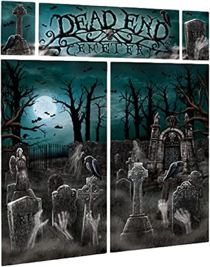 Large Photo Selfie Backdrop Scene Setter Creepy Spooky Cemetery Party Decoration