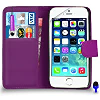 Apple iPhone 5 / 5S - Premium Leather PURPLE Wallet Flip Case Cover Pouch with Mini Touch Stylus Pen BLUE Dust Stopper Screen Protector & Polishing Cloth, (WALLET PURPLE)