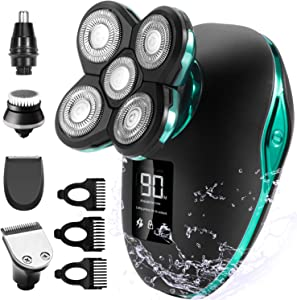 OriHea Electric Shavers for Men, 5 in 1 Head Razors for Bald Head, Hair Clippers Beard Nose Hair Trimmers and Grooming Kit, Fast-Charging LED Display Waterproof Shaver