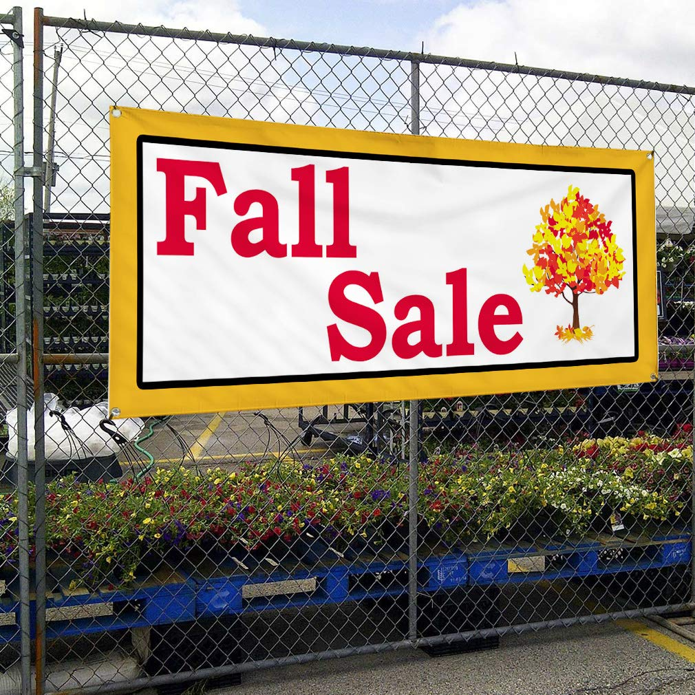 Set of 2 Multiple Sizes Available 28inx70in Vinyl Banner Sign Fall Sale Tree White Orange Black Business Marketing Advertising White 4 Grommets