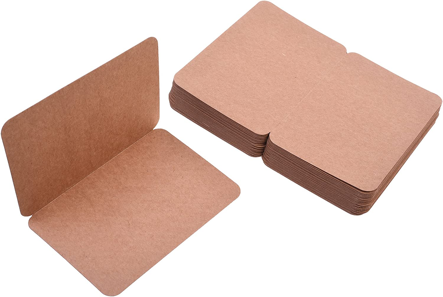"""BCP Pack of 50, 4 x 6"""" Kraft Paper Foldable Blank Cards for DIY Greeting Card/Decoration (Brown)"""