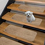 "Sweethome Stores Non-Slip Shag Carpet Stair Treads, (9""X26"")-14 Pack- Camel Solid"
