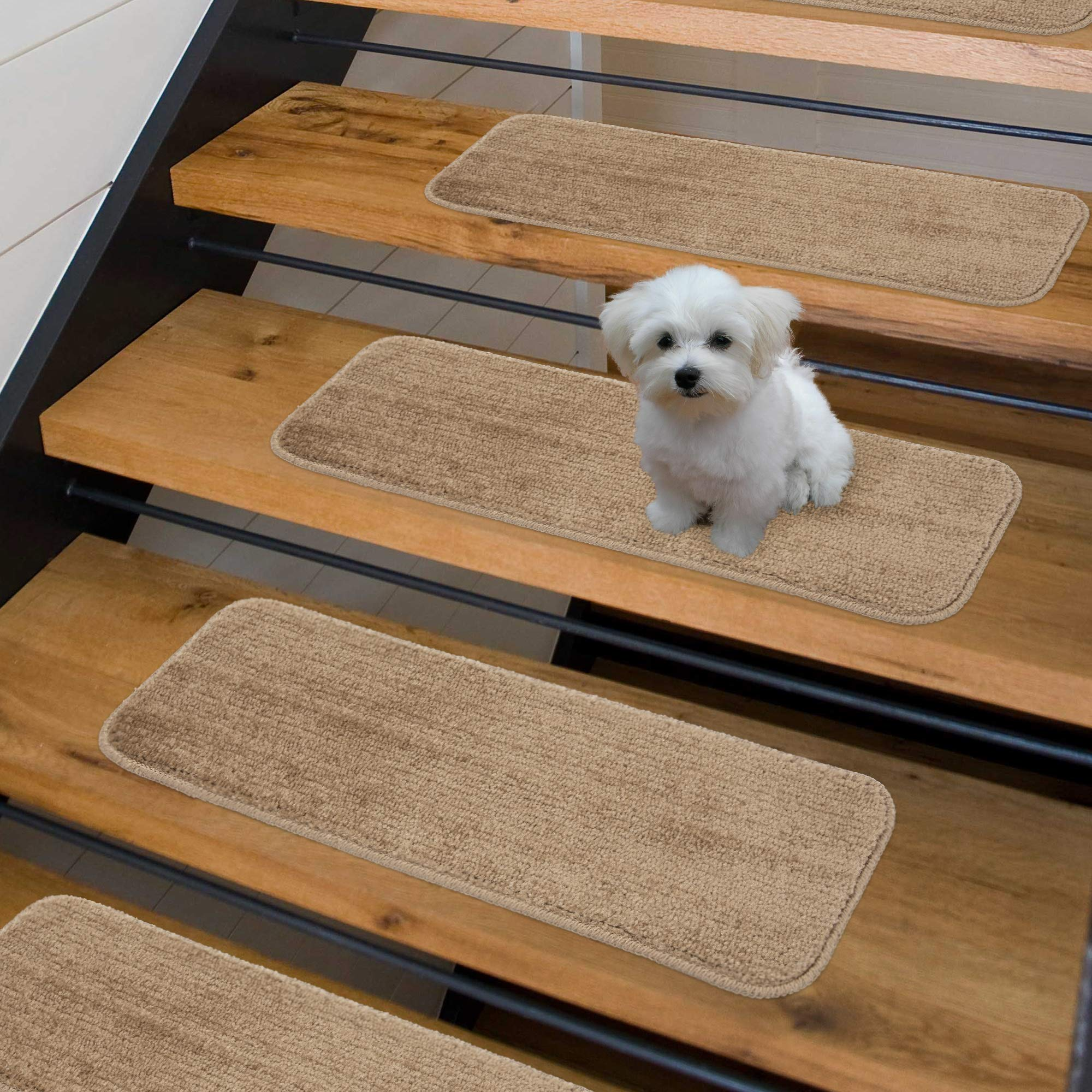 """Sweethome Stores Non-Slip Shag Carpet Stair Treads, (9""""X26"""")-14 Pack- Camel Solid"""
