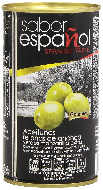 Sabor Español - Aceitunas rellanas de anchoa - Verdes manzanilla extra - 350 g: Amazon.es: Alimentación y bebidas