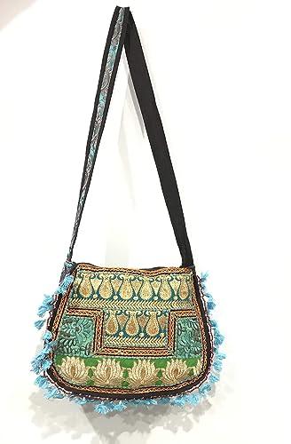 2482e87ab9 Amazon.com  Hippy Gypsy Indian Banjara Fabric Crossbody Bag Girls Boho  Antique Zari Work tote Bag Ethnic Bag Handmade Beautiful Bohemian Bag   Handmade