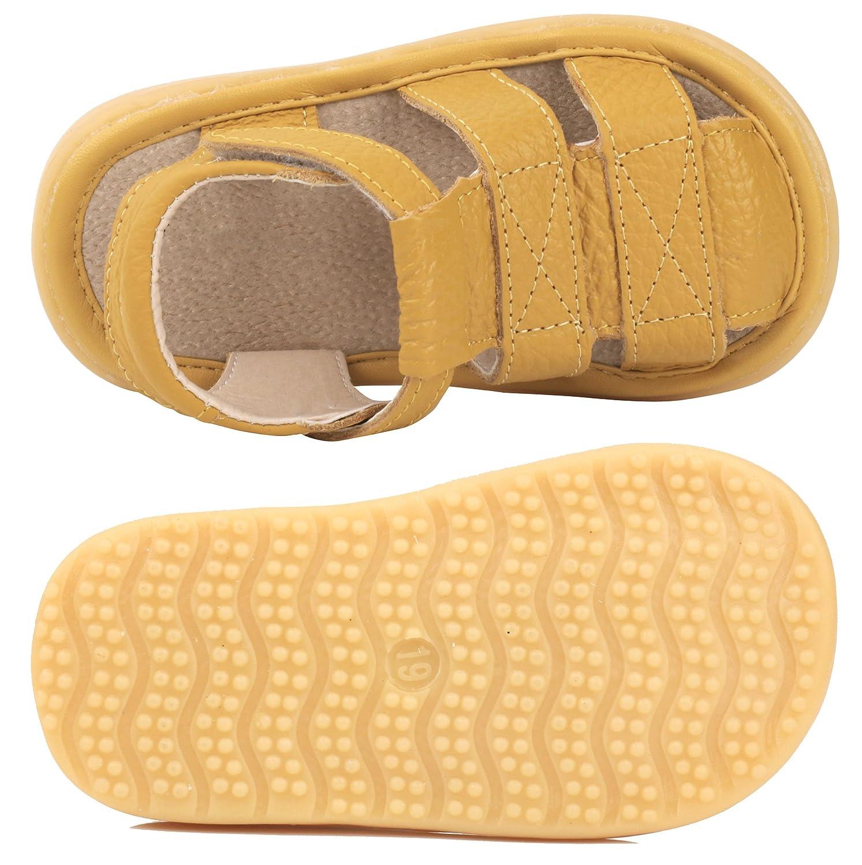 LONSOEN Toddler Boy Girl Summer Outdoor Closed-Toe Leather Sandals
