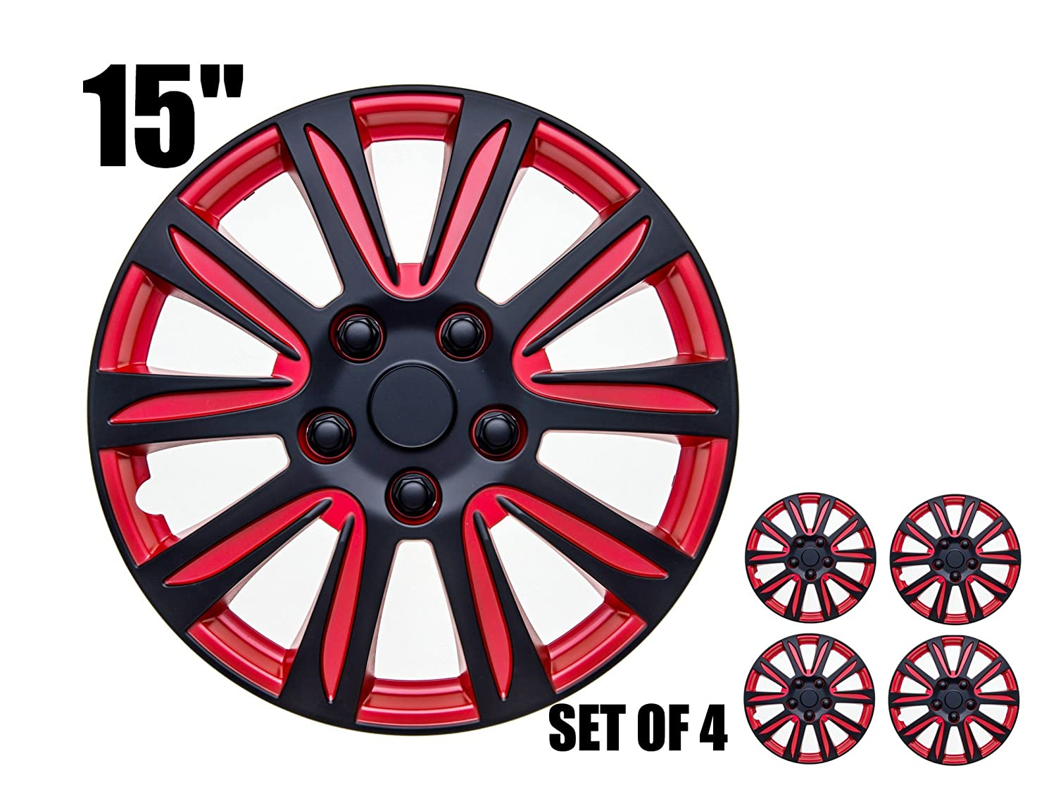 Marina Bay,16 Universal Fitment RED and Black Marina Bay 16 Universal Fitment Sumex 4350289670 Easy to install 16 inch Hubcaps Set of 4