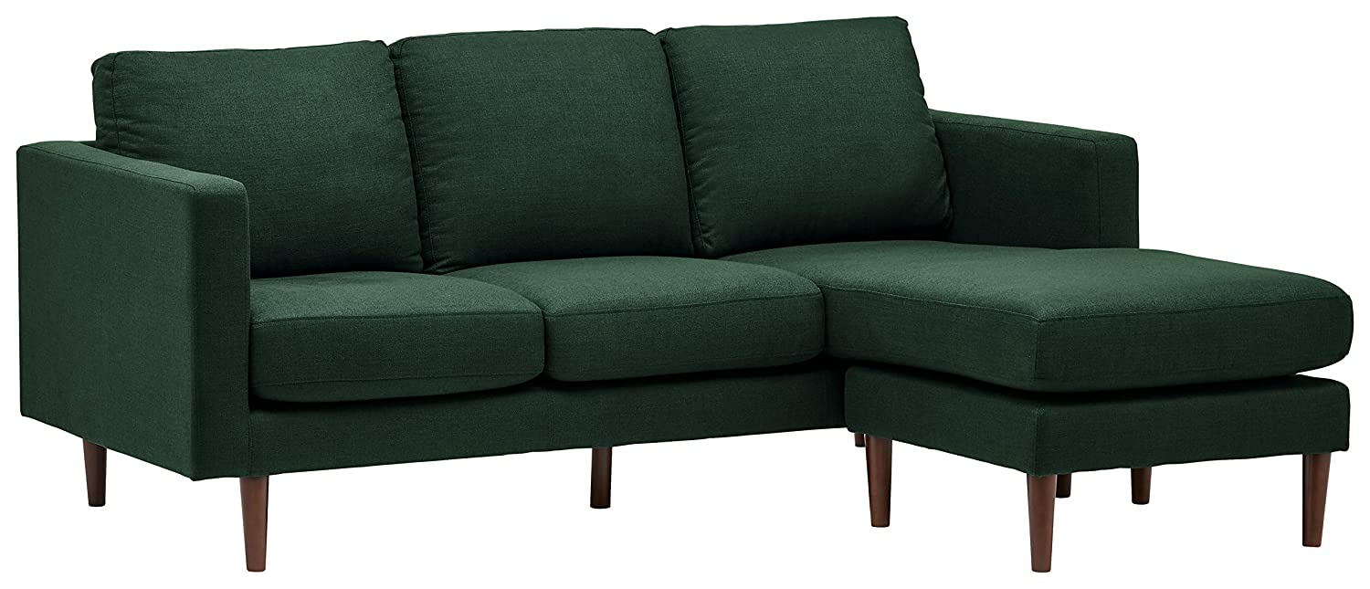 "Rivet Revolve Modern Upholstered Sectional with Chaise Longue, 79.9""W, Heritage"