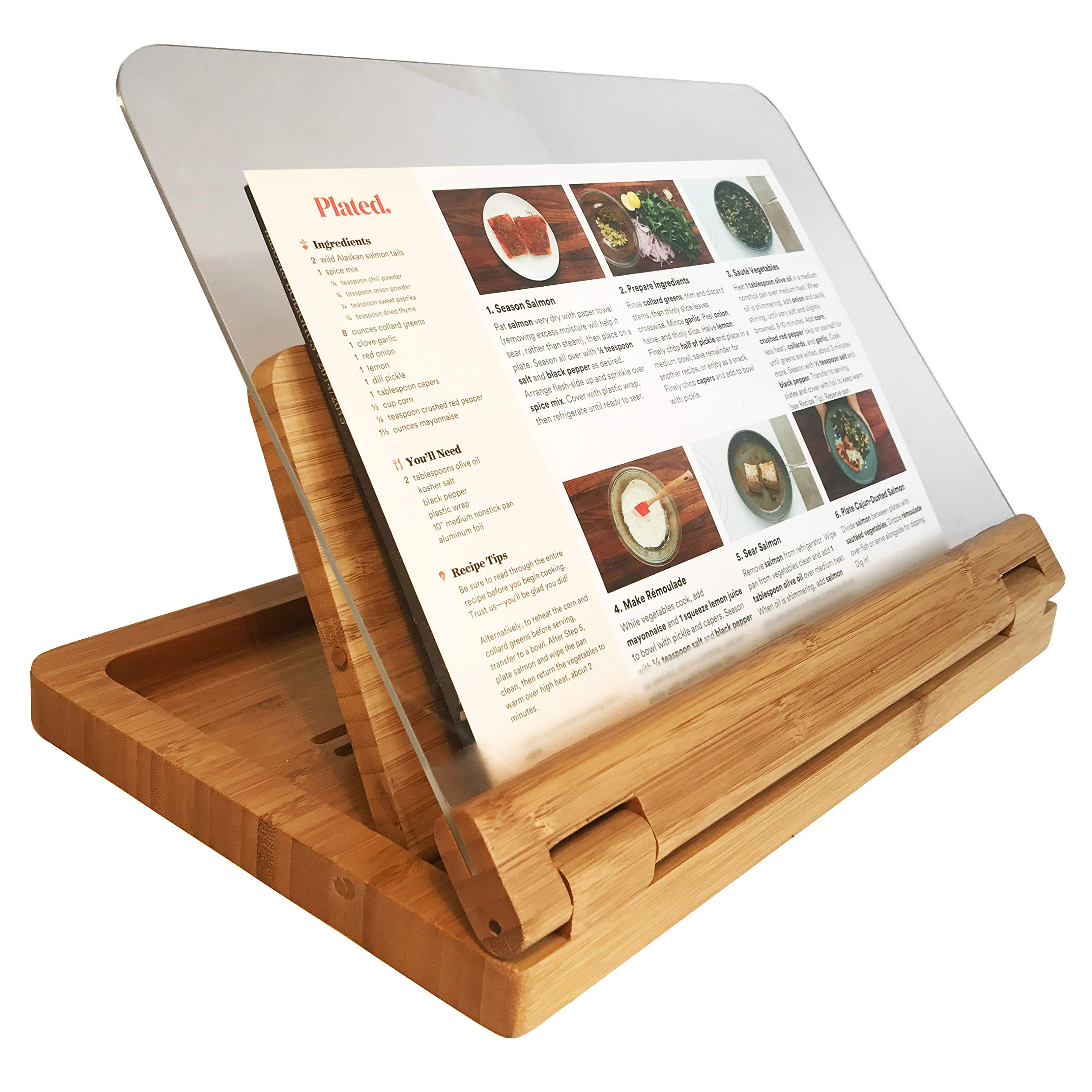 Hala Flip Cookbook Holder Bamboo Large with Acrylic Shield by Hala