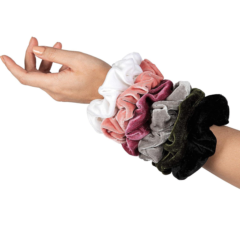 HARLOW Designer Velvet Scrunchies for hair, BigScrunchies Velvet Packs for VSCO stuff, Hair Scrunchies - 6 Pack (Survivor)