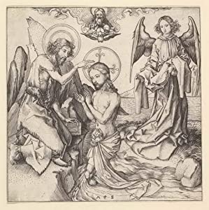 Berkin Arts Martin Schongauer Giclee Print On Canvas-Famous Paintings Fine Art Poster-Reproduction Wall Decor(Baptism of Christ) Large Size 31.4 x 31.5inches