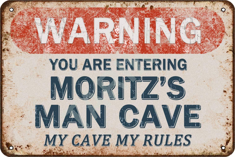 Tarika Warning You Are Entering Moritz's Man Cave My Cave My Rules Cartel de Hierro Pintura Vintage Cartel de Chapa para Street Garage Home Cafe Bar Hombre Cave Farm Decoración de Pared Artesanías