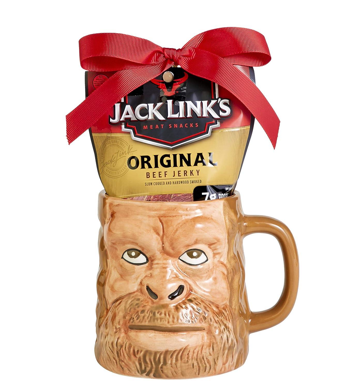Jack Link's Sasquatch Bigfoot Face Mug Gift Set, Includes a bag of Jack Link's Original Beef Jerky