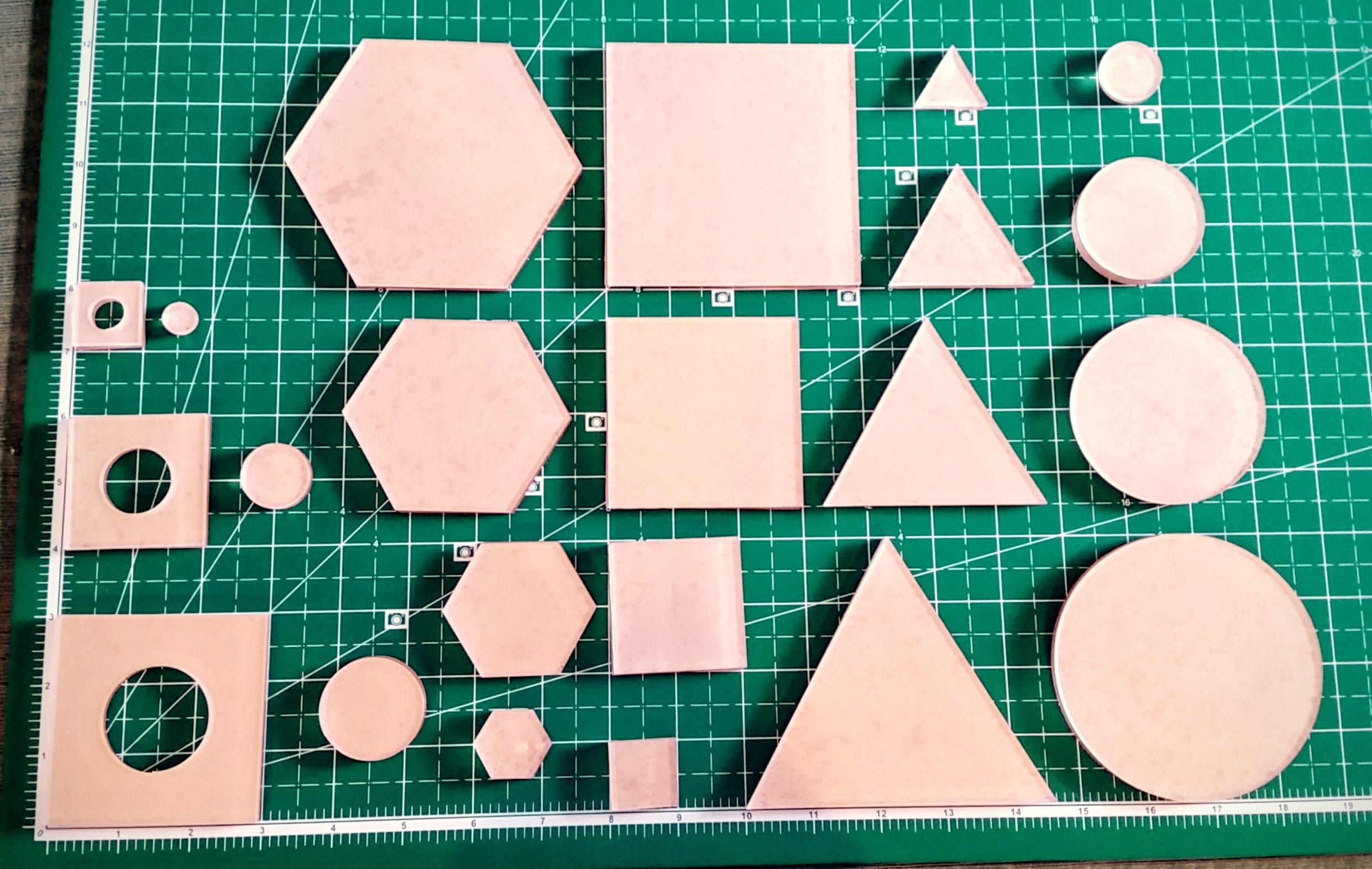 Itajime Shibori Templates - 44 piece set - Square, Circle, Hexagon, and Twinkle