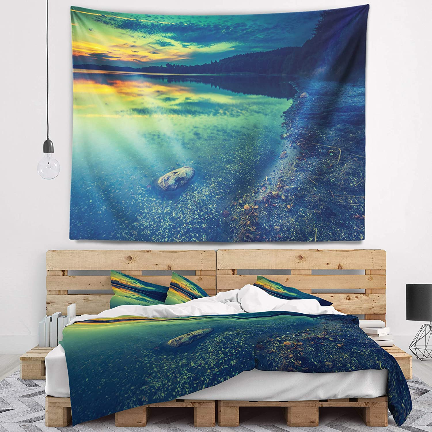 Designart TAP15729-60-50  Dark Vintage Lake at Sunset Boat Blanket D/écor Art for Home and Office Wall Tapestry Large 60 in Created On Lightweight Polyester Fabric x 50 in