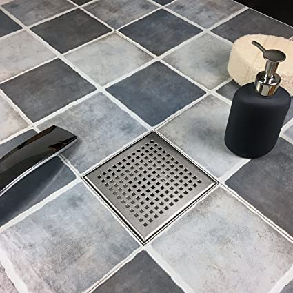 Square Shower Drain With Removable Quadrato Pattern Grate Inch - Rubber grate flooring