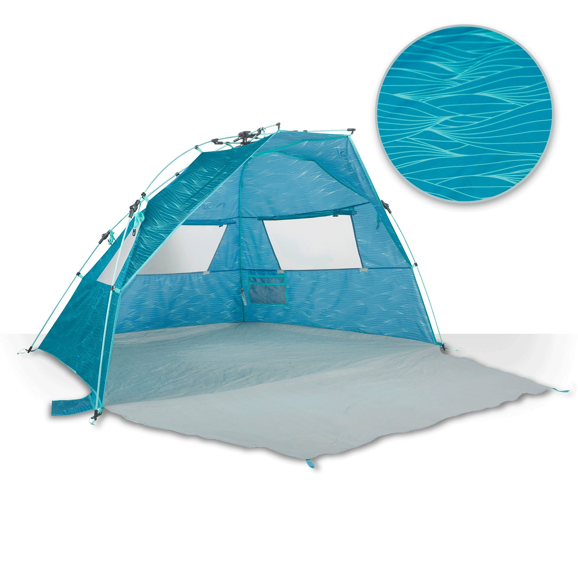 Lightspeed Outdoors Quick Cabana Beach Tent Sun Shelter, Aqua Teal Waves by Lightspeed Outdoors