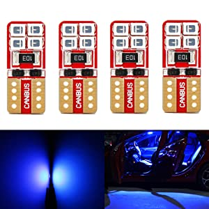 Phinlion Super Bright 2835 8-SMD LED Bulbs for Car Interior Dome Map Door Courtesy License Plate Lights Wedge T10 168 194 2825 Blue (Pack of 4)