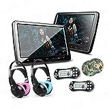 XTRONS? 2x 10.1 Inch Twins HD Digital Screen Car Headrest DVD Player Ultra-thin Detachable Touch Button HDMI Port with One Pair of Children IR Headphones(Blue&Pink)