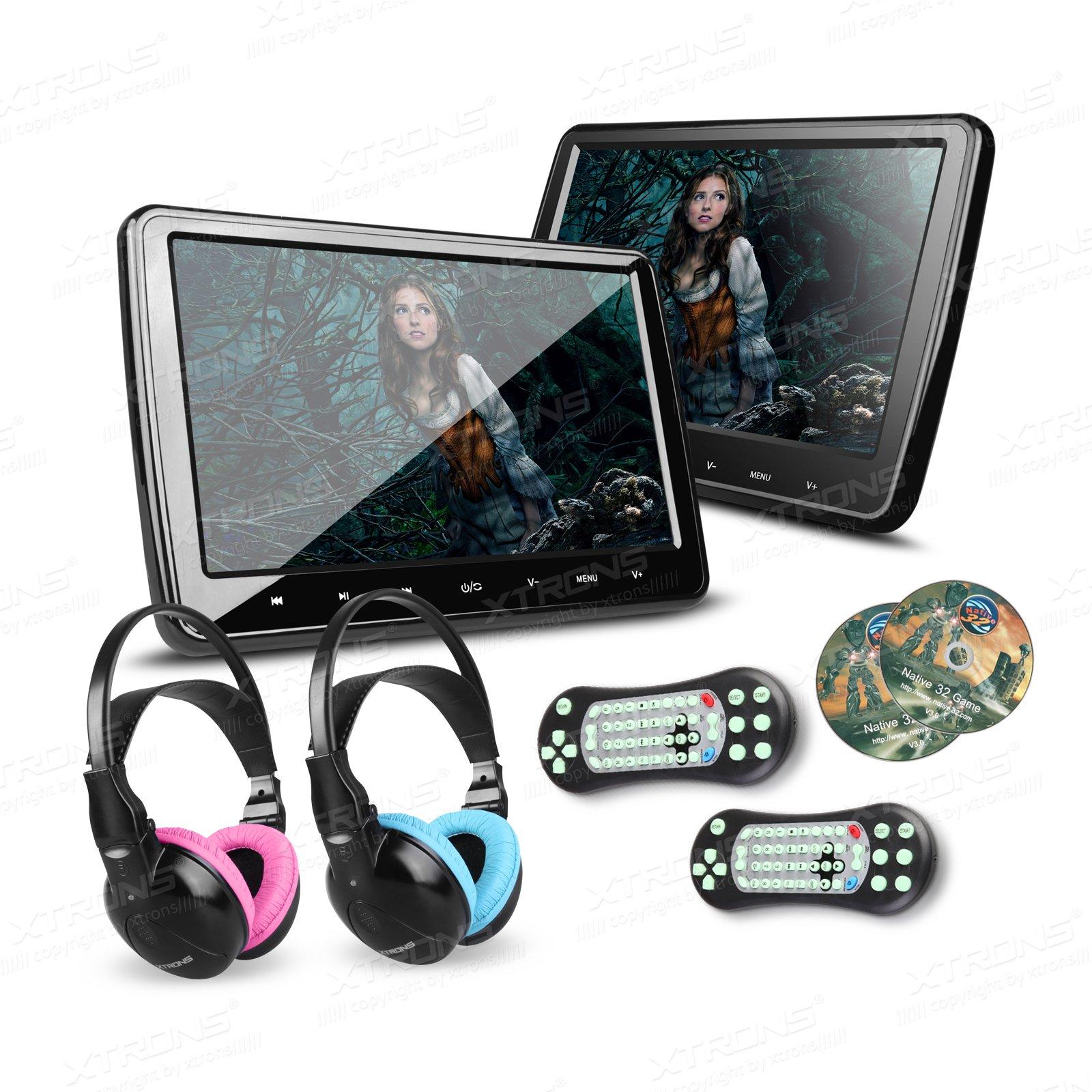 XTRONS 2X 10.1 Inch Twins HD Digital Screen Car Headrest DVD Player Ultra-Thin Detachable Touch Button HDMI Port with One Pair of Children IR Headphones(Blue&Pink)
