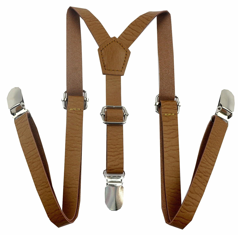 Apelna Skinny Leather Suspenders for Baby, Toddler, Children, Kids