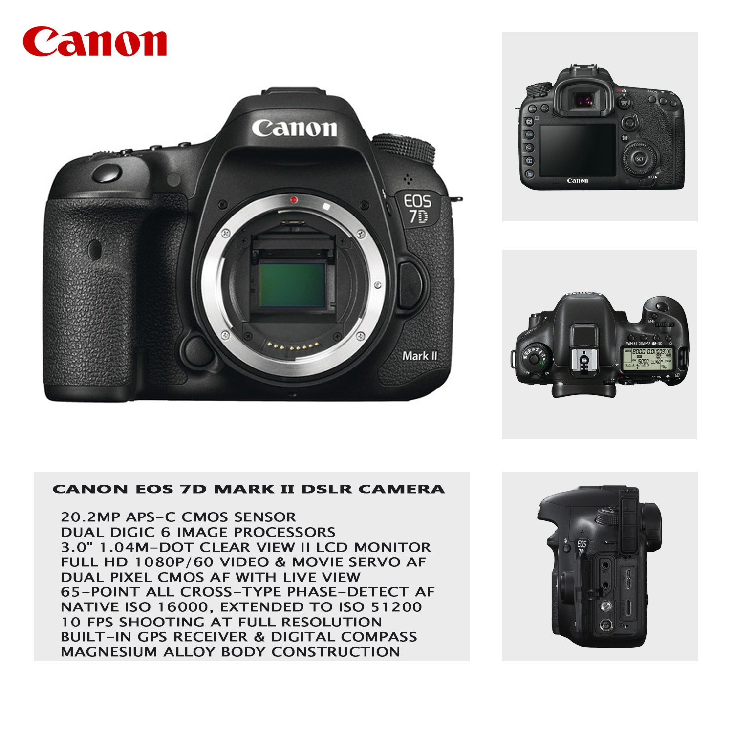 Amazon com : Canon EOS 7D Mark II DSLR Camera with 18-55mm