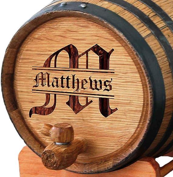 Custom Engraved and Personalized Whiskey Wine Scotch Bourbon Mini Oak Barrel - Complete Aging Kit - MPM Styles (1 Liter Barrel)