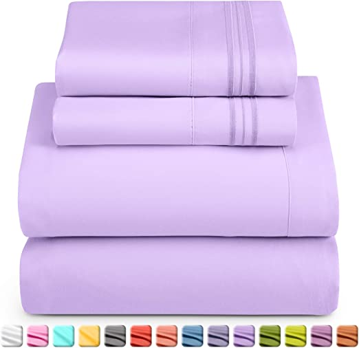 """2 FREE PILLOWCASE NEW EXTRA DEEP 13/"""" KING SIZE FITTED SHEET LILAC"""
