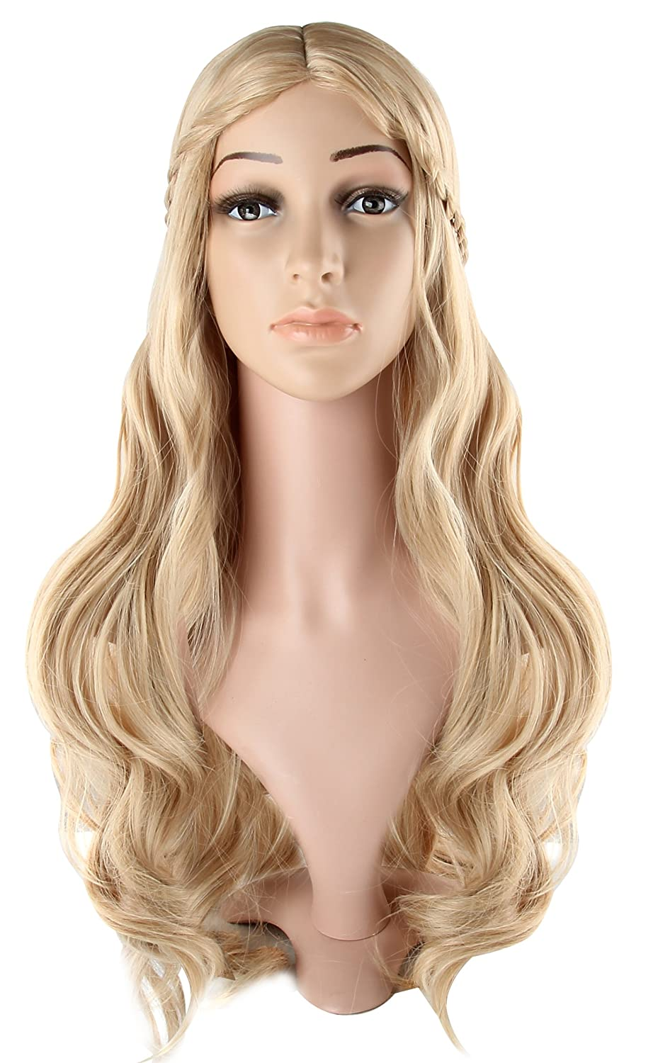 Womens Long Curly Fancy Dress Wigs Blonde Cosplay Cinderella Costume Ladies Wig Party Free Wig Cap by discoball: Amazon.es: Belleza