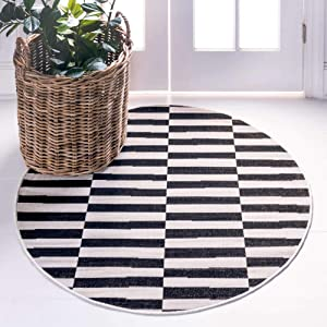 Unique Loom Williamsburg Collection Casual Striped Black Round Rug (5' 0 x 5' 0)