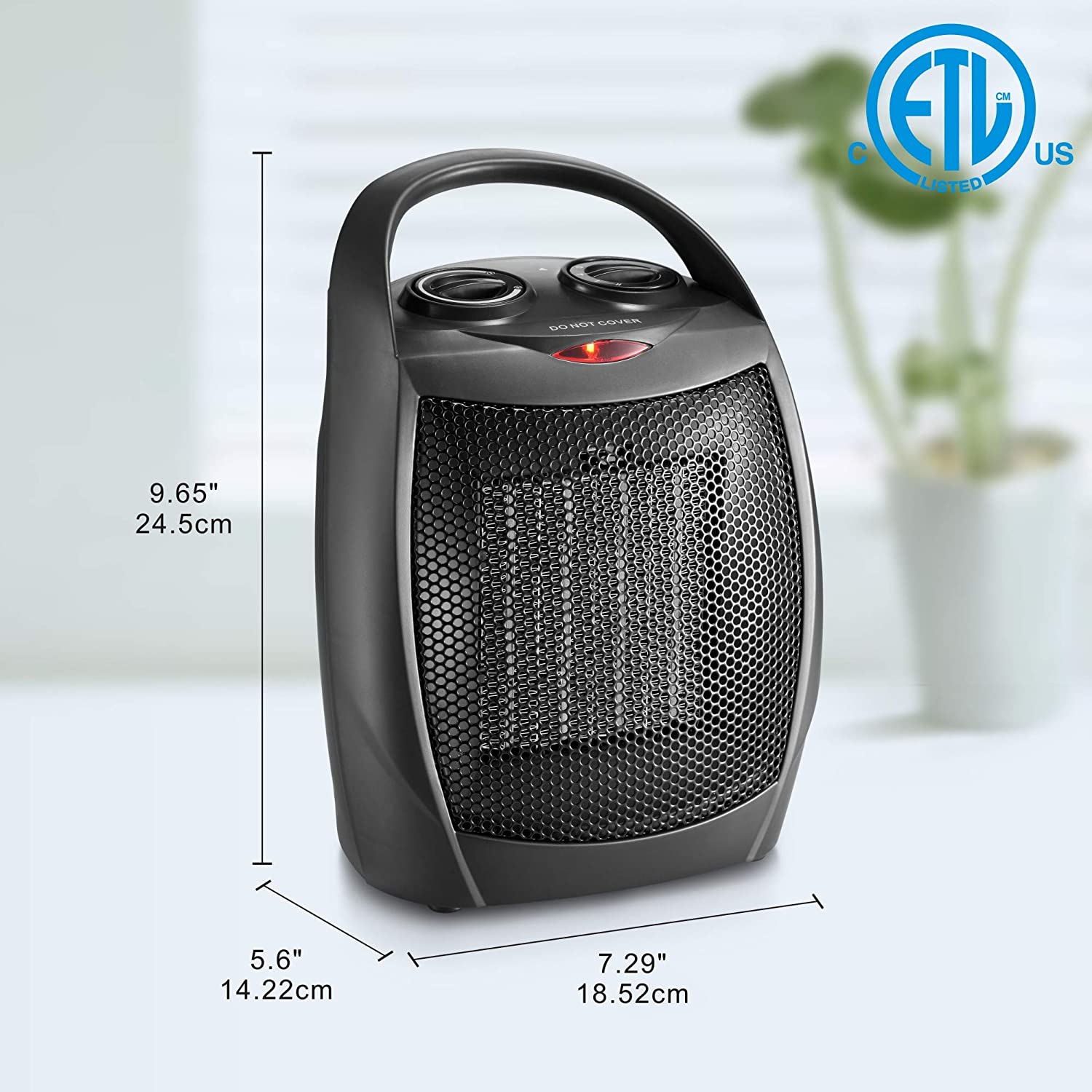 HOME_CHOICE Small Ceramic Space Heater Electric Portable Heater Fan for Home Dorm Office Desktop and kitchen with Adjustable Thermostat,ETL Listed for Safe Use Black