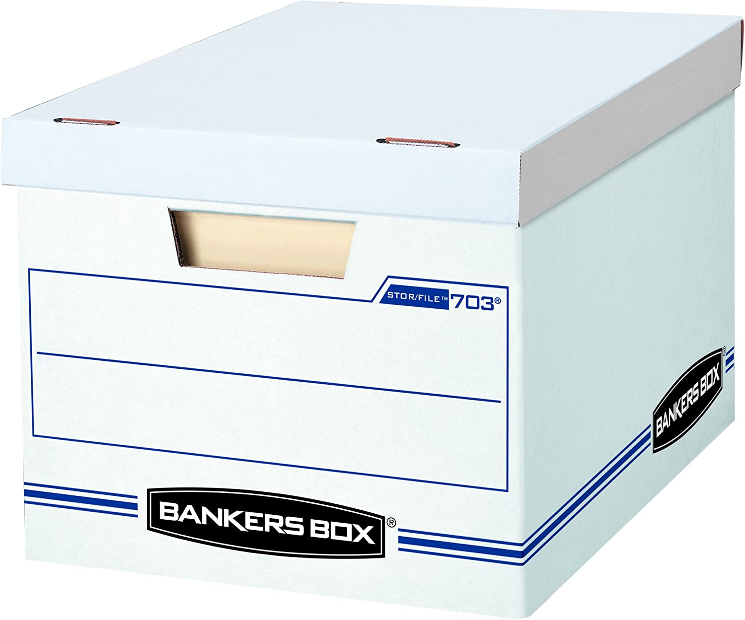 Letter//Legal 00703 12 x 10 x 15 Inches Bankers Box Storage Box with Lift-Off Lid White