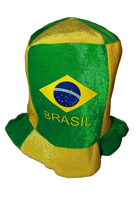 e93e05afcd8b9c Amazon.com : Brasil Brazil Country Flag Colors FIFA Soccer World Cup Tall  Clown Style Hat Cap New : Garden & Outdoor