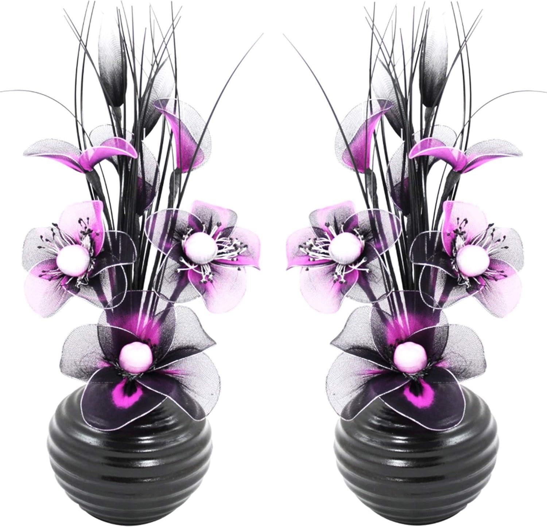 Accessoires et d/écoration pour Salle de Bain d/écoration Chambre /à Coucher ou Cuisine 32 cm Flourish Paire de Fleurs artificielles avec Vase Violet